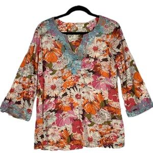 Sundance Medium Embroidered Colorful Floral Tunic